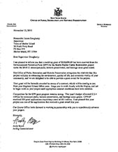 Letter notifying the Town of the award of a matching grant from the Environmental Protection Fund (EPF)
