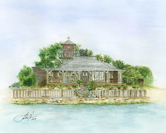 Photo of a watercolor painting by Linda Hynes of the Smith Taylor Cabin on Taylor's Island