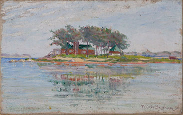 Walter Cole Brigham painting of Cedar Island from Belle Lareau