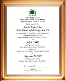 Framed certificate from the NYS Office of Parks, Recreation, and Historic Preservation