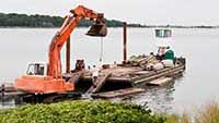 Photo of contruction barge at Taylor's Island